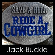 Buckle Ride a Cowgirl Western Country Gürtelschnalle Blue