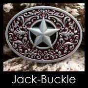 Buckle - Red Southwest Star Western Biker